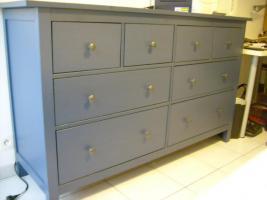 Foto 2 schicke blaue Kommode von Ikea, 8 Schubladen, & passendes blaues Nachttischchen