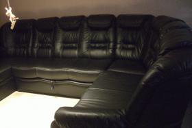 Foto 3 schwarze Ledercouch zu verkaufen