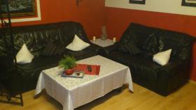 schwarze echt Leder Couchgarnitur mit Federkern