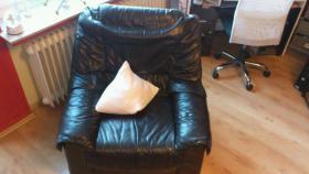 Foto 3 schwarze echt Leder Couchgarnitur mit Federkern