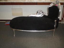 siblerne Chaise longue mit schwarzem velour Bezug