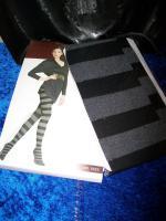 +++ stripe tights +++ blickdicht + grau schwarz + S + OVP