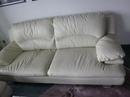 weiße Echtleder-Sofas, 2 Stück, 3-Sitzer