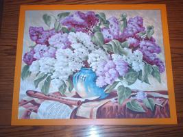 wunderschönes handgemaltes Bild mit Rahmen ''Fliederstrauß''