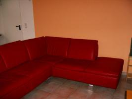 Foto 2 wunderschönes neuwertiges rotes ledersofa