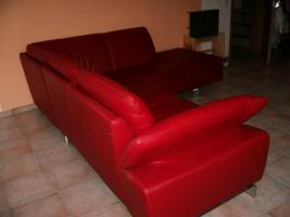 Foto 3 wunderschönes neuwertiges rotes ledersofa