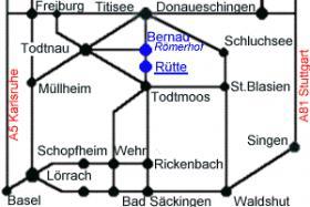 Verkehrverbindungen im südllichen Schwarzwald und Schweiz