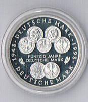 10 Deutsche Mark Silber 1998 F in Polierter Platte ! !