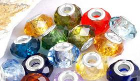 10 Kristall Glas Beads/Charms, 14 x 9 mm, Fädelloch ca.4,5 mm