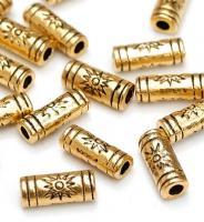 10 Metallperle/Spacer/Zwischenperle, Goldfarben, 9,5 x 4 mm, Nickelfrei