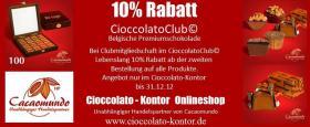 10% Rabatt CioccolatoClub© im Cioccolato-Kontor Belgische Premiumschokolade