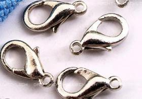 10 Schmuck Karabinerhaken Silberfarben 11 mm