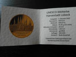 Foto 3 100 Euro Goldmünze Hansestadt Lübeck 2007 D aus 999,9 Gold
