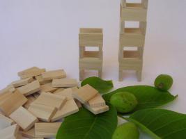 Foto 2 1000 Stk Dominosteine aus naturbelassenem Holz NEU