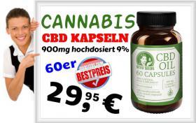 ❌ Cannabis CBD Kapseln hochdosiert 900MG 9% nur 29,95€