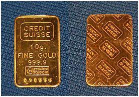 10gramm Goldbarren 999,9/1000 Feingold Heraeus  270EUR VHB 10gramm Goldbarren 999,9/1000 Feingold Credit Suisse 250 EUR VHB