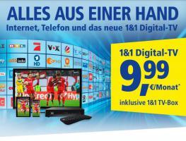 1&1Digital‑TV.  ALLES AUS EINER HAND: Internet, Telefon und Fernsehen! Nur 9,99 €/Mon.