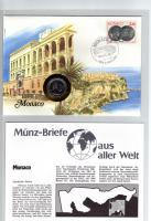 1987 MÜNZBRIEF MONACO MIT MÜNZE-PWZ-DOKUBLATT