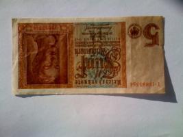 2 Banknoten á 5 Reichsmark 1.8.1942