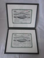 2 antike Bilder - 1936 - Pittsburgh Rail Road Company - Aktien - 39x32 -im Holzrahmen