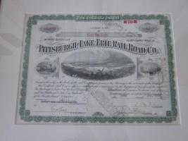 Foto 2 2 antike Bilder - 1936 - Pittsburgh Rail Road Company - Aktien - 39x32 -im Holzrahmen