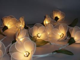 20 White Flowers String Party, Patio, Wedding Light
