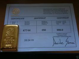 250 g Gramm Goldbarren Argor-Heraeus 999,9 + Zerti