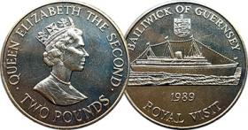2Pounds (2 Pfund) Münze Guernsey - Royal Visit 1989
