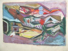 Foto 4 3 Gemälde A. Bogomazov / N. Suetin  / L. Popova oder Popowa ? aus DDR Nachlass