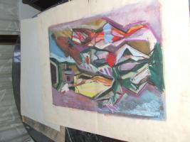 Foto 5 3 Gemälde A. Bogomazov / N. Suetin  / L. Popova oder Popowa ? aus DDR Nachlass