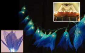 Foto 2 35x Blue Leaf Flower String Party, Patio, Wedding Light