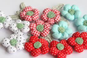 3D Stoffblumen, 12 Stück, Baumwolle