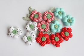 Foto 2 3D Stoffblumen, 12 Stück, Baumwolle