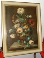 4 Ölgemälde Gemälde Rahmen 60er : Blumenstrauß -Dorf - Wald - Abstrakt
