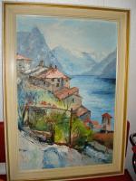 Foto 4 4 Ölgemälde Gemälde Rahmen 60er : Blumenstrauß -Dorf - Wald - Abstrakt