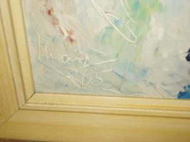 Foto 5 4 Ölgemälde Gemälde Rahmen 60er : Blumenstrauß -Dorf - Wald - Abstrakt