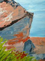 Foto 6 4 Ölgemälde Gemälde Rahmen 60er : Blumenstrauß -Dorf - Wald - Abstrakt