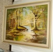 Foto 7 4 Ölgemälde Gemälde Rahmen 60er : Blumenstrauß -Dorf - Wald - Abstrakt
