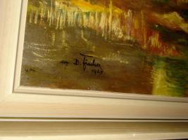 Foto 8 4 Ölgemälde Gemälde Rahmen 60er : Blumenstrauß -Dorf - Wald - Abstrakt