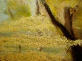 Foto 9 4 Ölgemälde Gemälde Rahmen 60er : Blumenstrauß -Dorf - Wald - Abstrakt