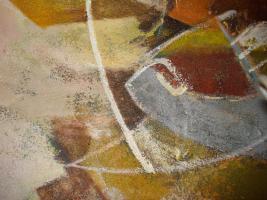 Foto 11 4 Ölgemälde Gemälde Rahmen 60er : Blumenstrauß -Dorf - Wald - Abstrakt