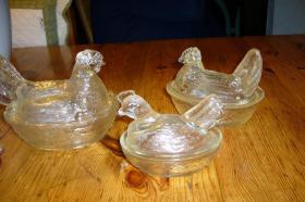 5 Glashühner mit Deckel