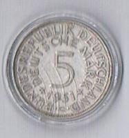 5 deutsche Mark Silber 1951 G ! !