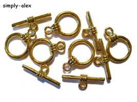 Foto 2 5 kleine Knebelschlüsse 14x10mm GOLD