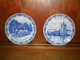 Foto 2 5 wunderschöne Wandteller & 4 Vasen in blau von Delft