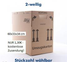50 NEUE Umzugskartons - 60x33x34 cm doppelwellig