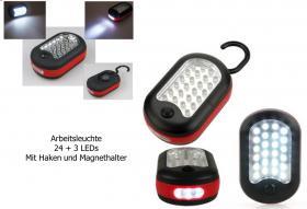 6 Stück LED Arbeitsleuchte 24 + 3 LEDs mit Haken und Magnethalter