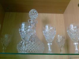 6 teiliges Kristalweilglas Set mit Karaffe von Bohemia