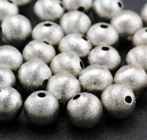 8 Metallperlen/Spacer(12), angerauht, Kugel, Nickelfrei, ca.10 mm