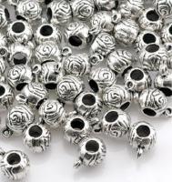 8 Metallspacer(9) Rose, 1,2 x 0,7 x 0,9 cm, Silberfarben, Nickelfrei